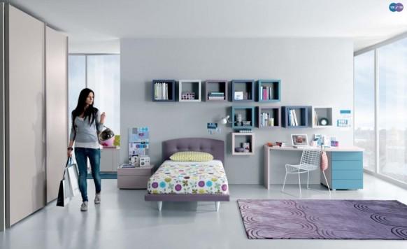 бело-лавандовый интерьер комнаты для девочки - подростка, MisuraEmme