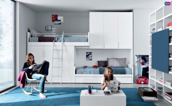 бело-голубой интерьер комнаты для двоих детей, MisuraEmme