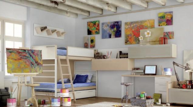 интерьер комнаты для подростка, художник