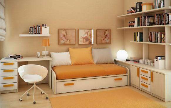 желтый интерьер детской комнаты