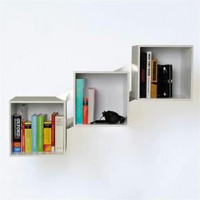 Мебель. Автор. Необычная навесная книжная полка с идеей трансформируемой системы