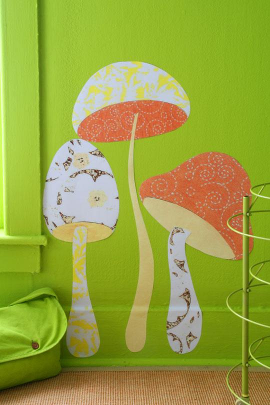 грибы на стене, декор своими руками