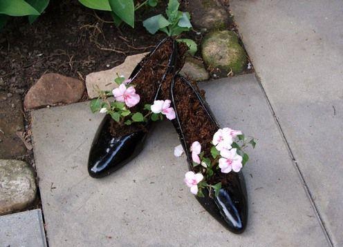 цветочные горшки из обуви