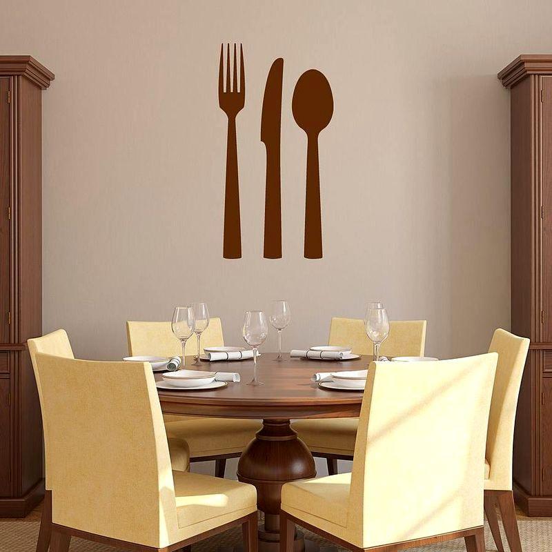 стикер столовые приборы - декор кухни