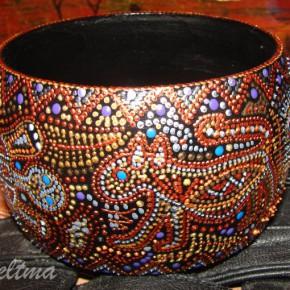 ваза, роспись контурными красками