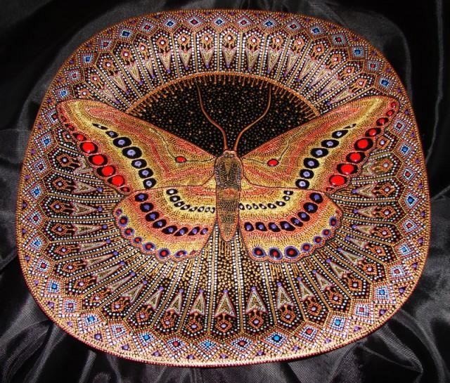 роспись контурами, тарелка Бабочка, keltma