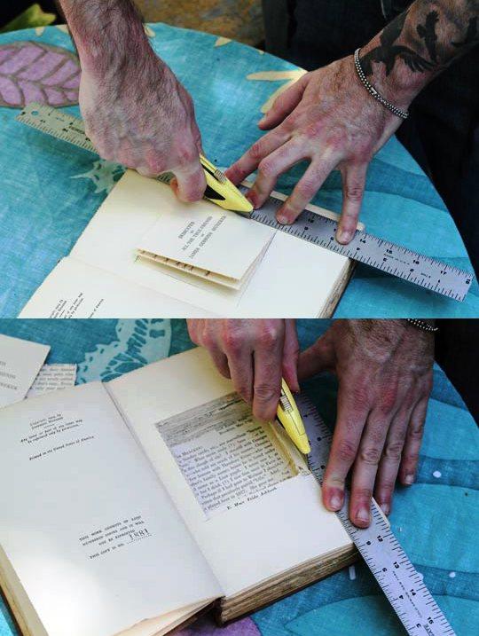 режем отверстие в книге