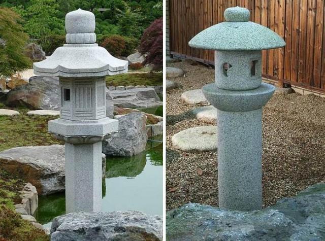 каменные японские фонари ikekomi-gata