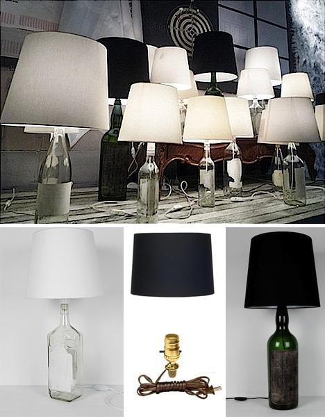 настольные светильники из стеклянной бутылки