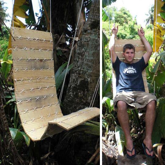 подвесное кресло - качели из паллеты