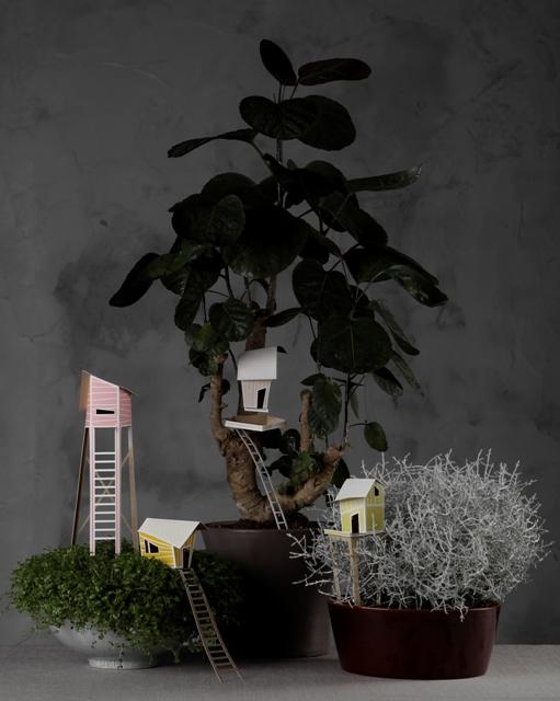 Деревушка в зарослях: декор горшков с комнатными растениями