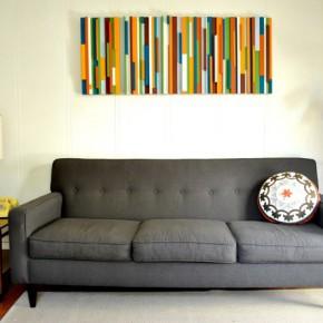 Разноцветная картина из брусков: декор стены своими руками