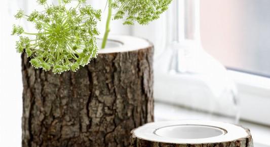 Натуральная ваза из ствола дерева