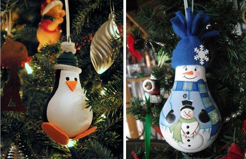 снеговик и пингвин из лампочки