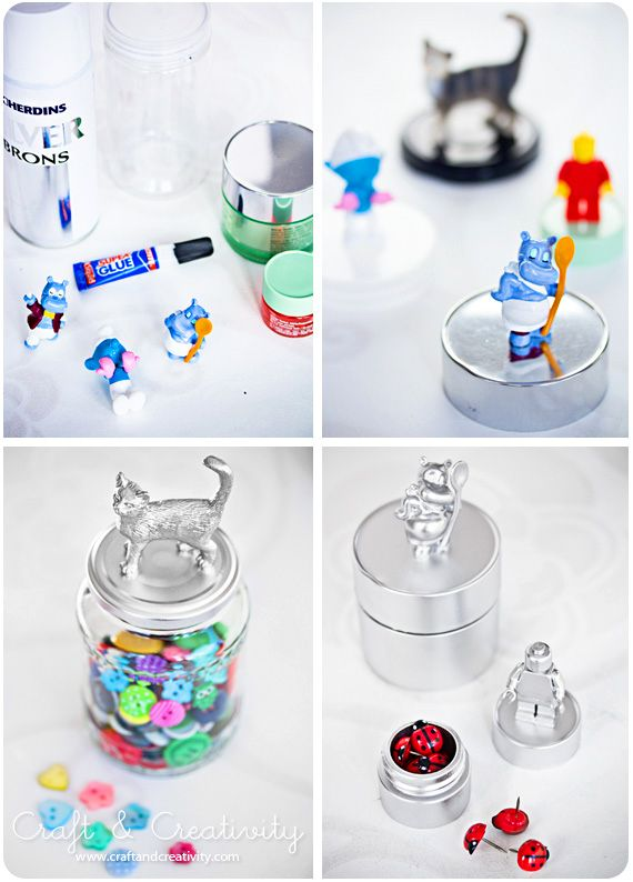 декор банок игрушками киндер сюрприз
