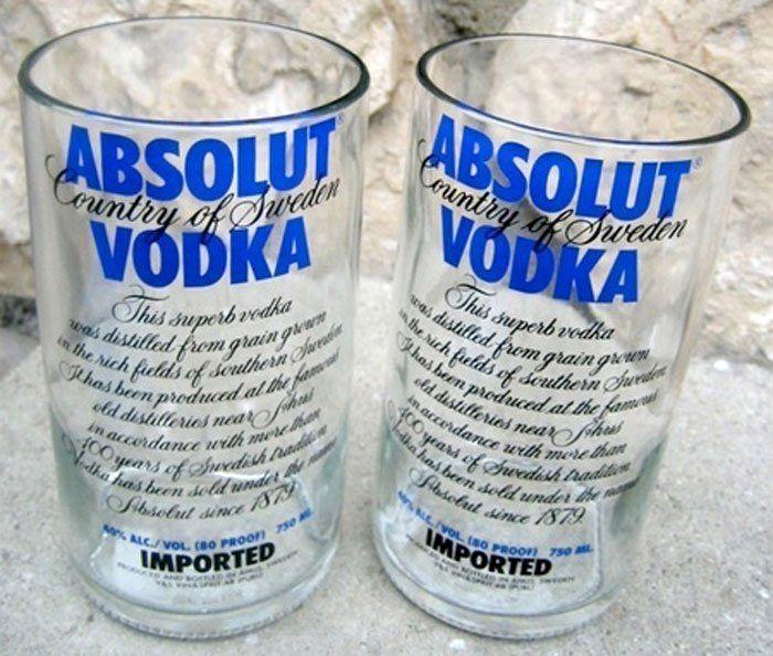 стаканы из стеклянных бутылок