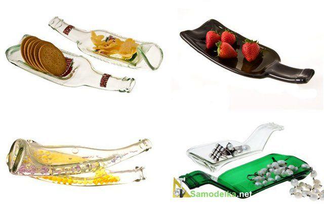 тарелки - поделки из стеклянных бутылок
