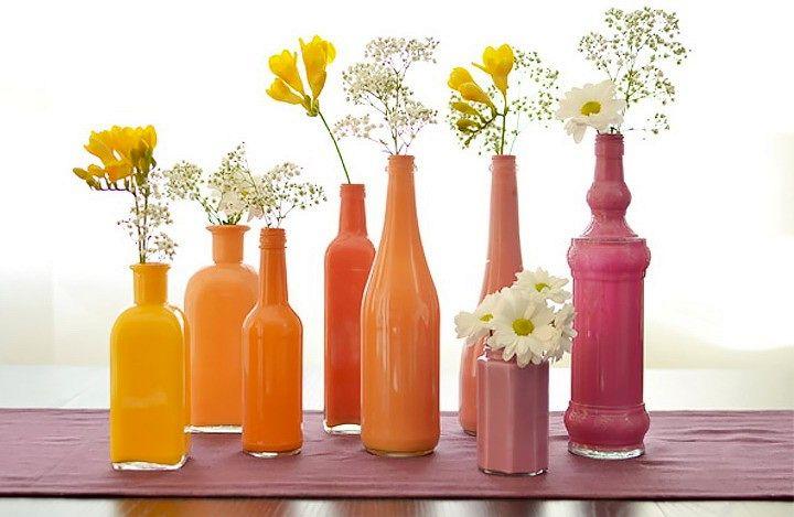 поделки из стеклянных бутылок - вазы