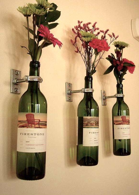настенные вазы из винных бутылок