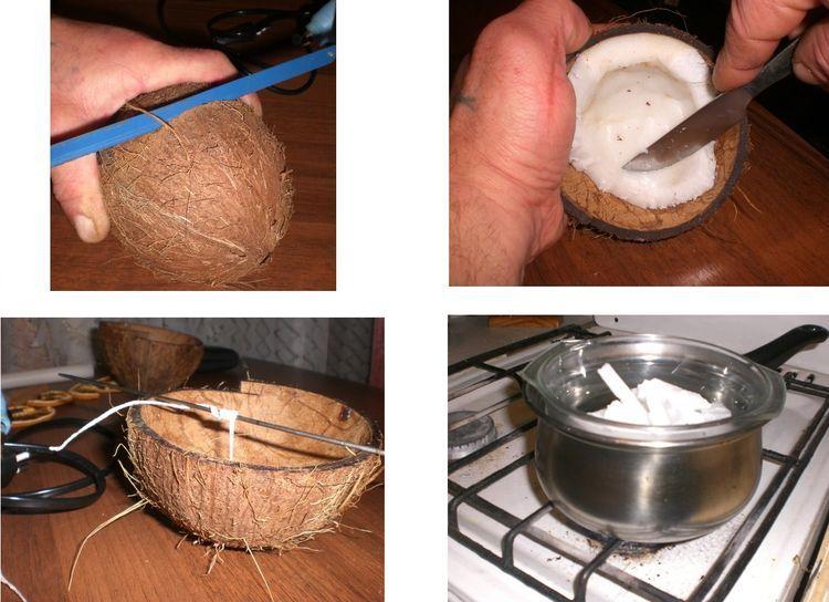 свеча своими руками в скорлупе кокоса