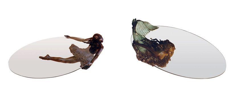 столы с бронзовой скульптурой