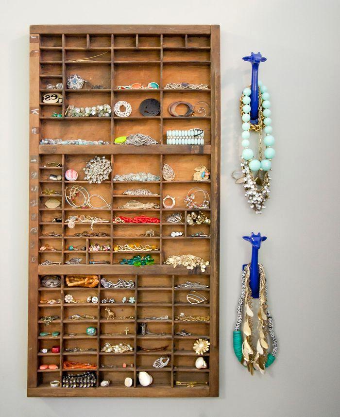 хранение бижутерии в органайзере из ящиков