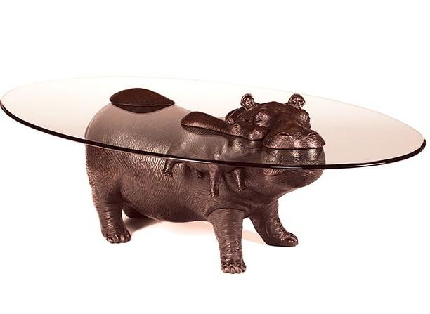 стол в виде животного - бегемот с малышом
