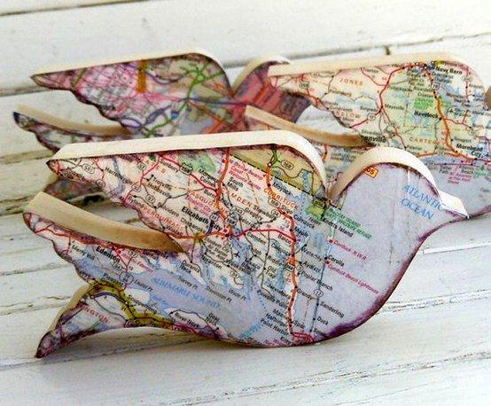 декупаж географическими картами