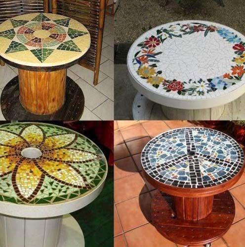 декор мозаикой стола из катушки