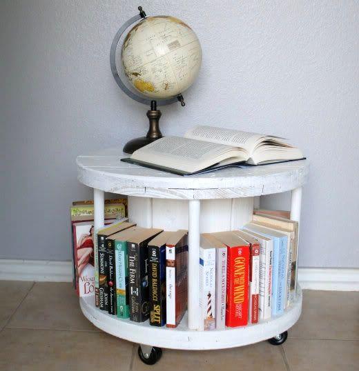 круглый журнальный столик из катушки от кабеля