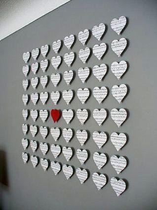 сердечки из бумаги с 3D эффектом на стену