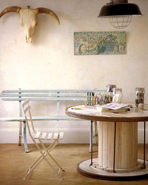 круглый стол из катушки от кабеля