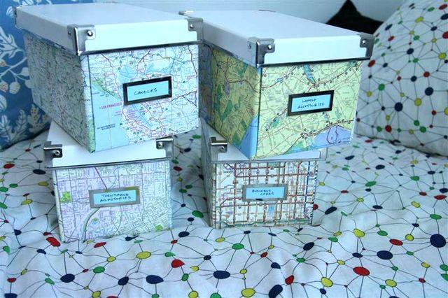географические карты в интерьере - коробки