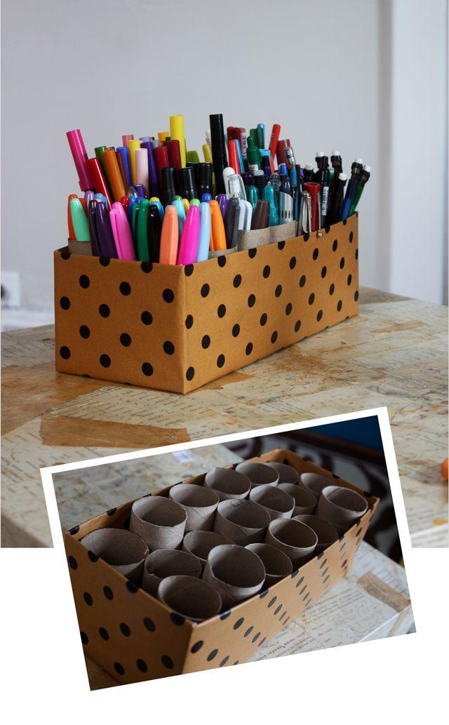 Как сделать из картона подставку для ручек