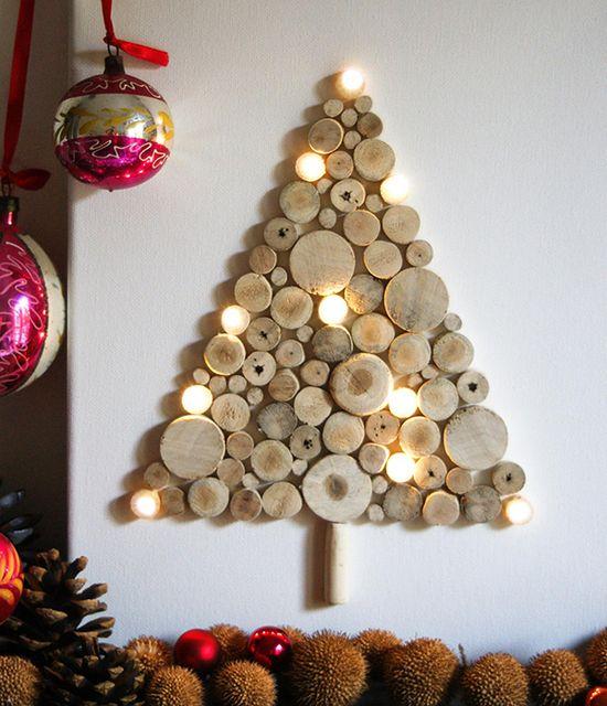 альтернативные новогодние елки - силуэт на стене