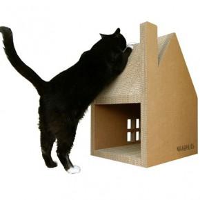 Картонный домик-когтеточка для котов
