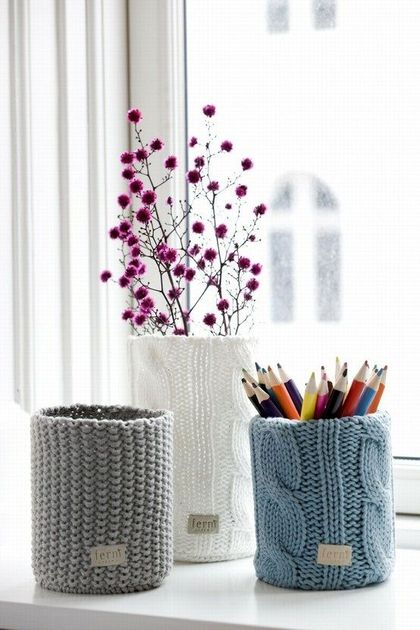 вязаные чехлы на вазы