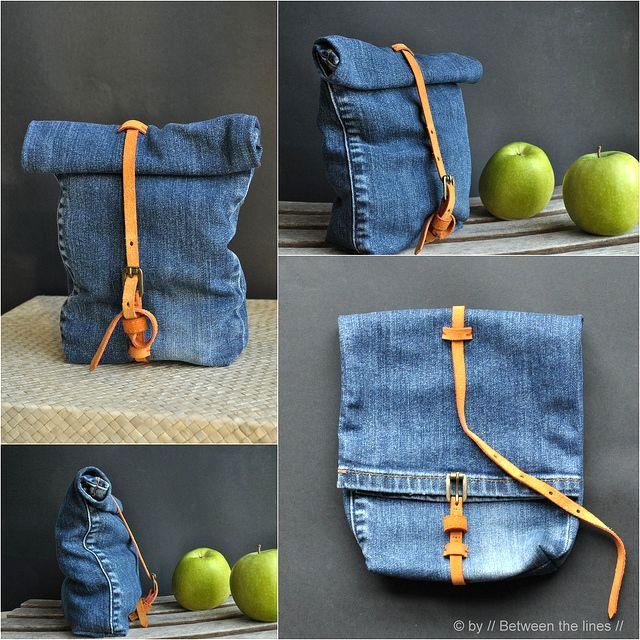 сумка-мешок из старых джинсов своими руками