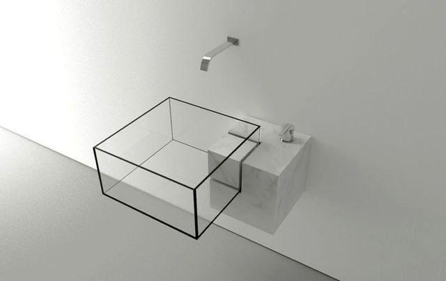 невидимая стеклянная раковина в ванной комнате