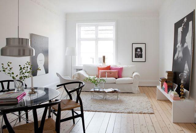 светлый и легкий интерьер гостиной в скандинавском стиле