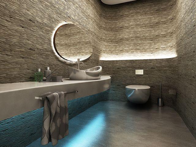 интерьер ванной комнаты с встроенной подсветкой