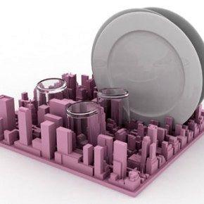 Оригинальная сушилка для посуды в виде панорамы города