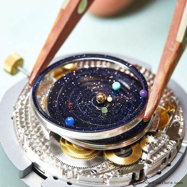 необыкновенные астрономические наручные часы с солнечной системой