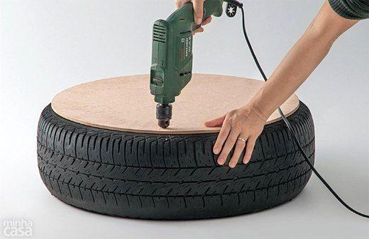 как сделать журнальный столик из шины своими руками