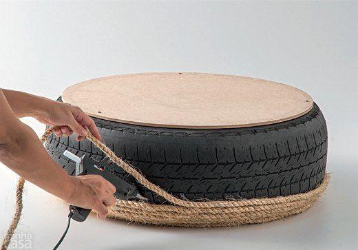 журнальный стол своими руками из шины, обклеенной жгутом