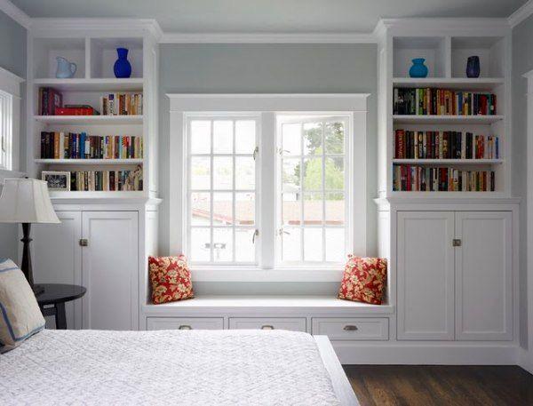 Встроенные шкафы у окна 57