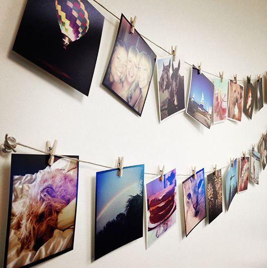 фотографии инстаграмм на стене на прищепках