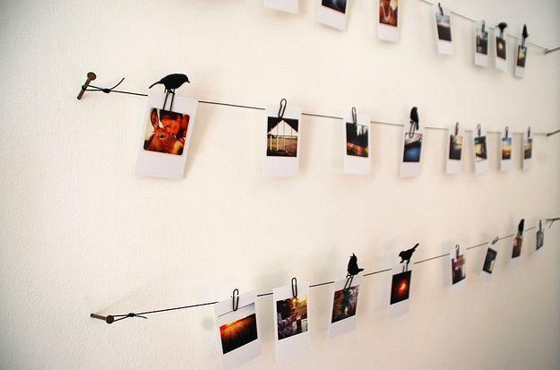 фотографии на стене на веревочке
