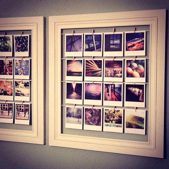 декор стены фотографиями в рамках