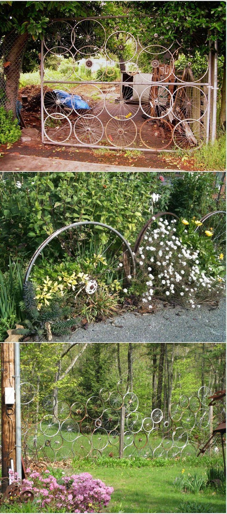 дачные заборы и ограждения из велосипедных колес